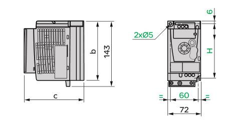 Schneider+B02+ATV12系列带有基座的变频器(单相电源电压:100~120V)+外形尺寸1