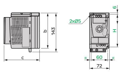 Schneider+B02+ATV12系列带有基座的变频器(单相电源电压:200~240V)+外形尺寸1