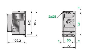 Schneider+B02+ATV12系列带有基座的变频器(单相电源电压:200~240V)+外形尺寸2