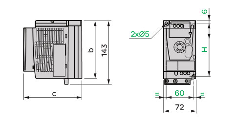 Schneider+B02+ATV12系列带有散热器的变频器(单相电源电压:200~240V)+外形尺寸1