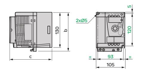 Schneider+B02+ATV12系列带有散热器的变频器(单相电源电压:200~240V)+外形尺寸2