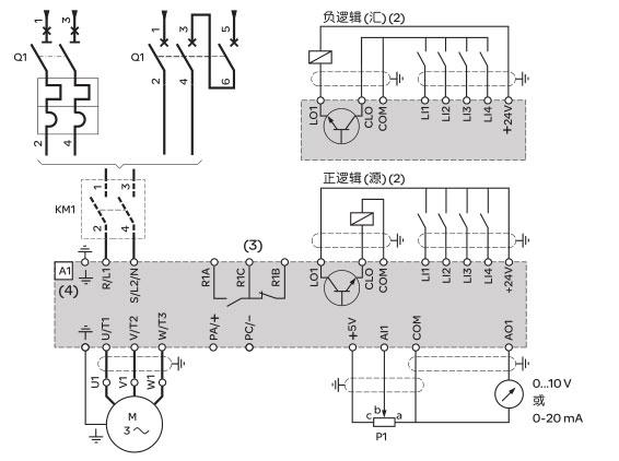 Schneider+B02+ATV12系列带有散热器的变频器(单相电源电压:200~240V)+接线图1