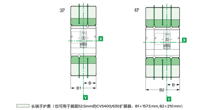 Schneider+CVS160系列塑壳断路器(配电保护)+外形尺寸