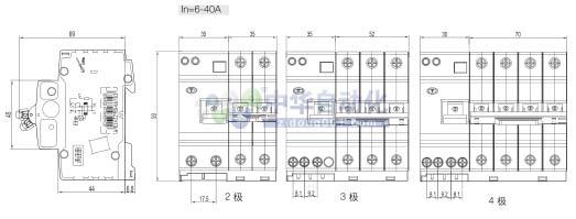 ABB+GSH200系列AC瞬动型电子式剩余电流动作保护断路器(脱扣特性:D级)+外形尺寸图1
