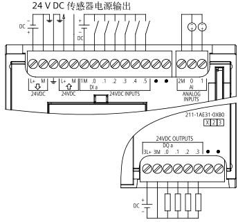 SIEMENS+E06+S7-1200-1211C系列CPU+接线方式2