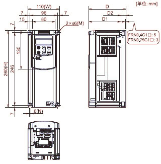 FUJI+FRENIC-MEGA系列高性能多功能型变频器(3相 380V)+安装方式1