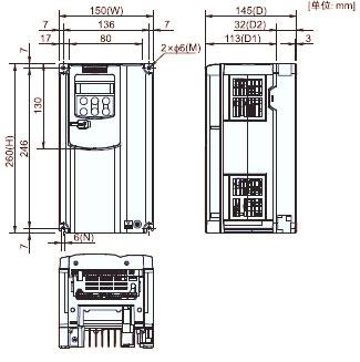 FUJI+FRENIC-MEGA系列高性能多功能型变频器(3相 380V)+安装方式2