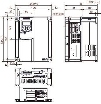 FUJI+FRENIC-MEGA系列高性能多功能型变频器(3相 380V)+安装方式3