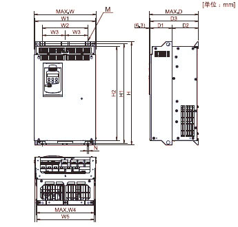 FUJI+FRENIC-MEGA系列高性能多功能型变频器(3相 380V)+安装方式5