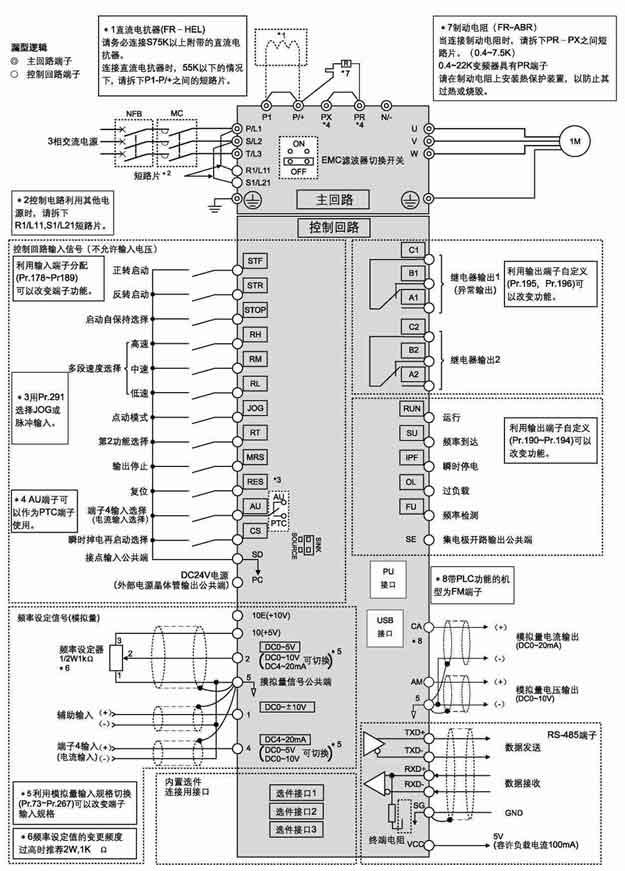 FR-A740系列高性能矢量变频器接线方式