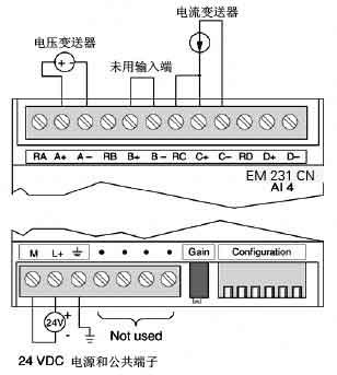 EM 231 CN模拟量扩展模块接线方式