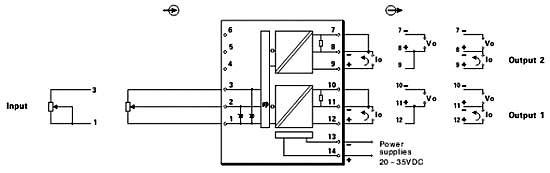 连接至现场电阻电位器类型:二线制,三线制电位器.   3.