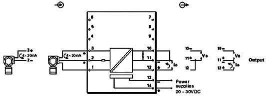kl-f041系列现场电源配电信号输入隔离器(一入一出)接线方式