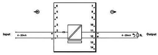 kl-f700系列无源·电流信号输入隔离器(一入一出)接线方式